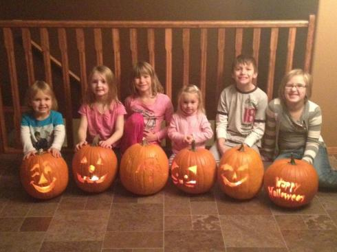 Our annual pumpkin carving with our neighbors. We started this when the 2 oldest were the only ones carving pumpkins! No more kids allowed.
